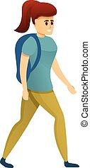 Hiker girl icon, cartoon style