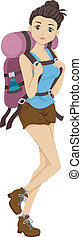 Hiker Girl - Illustration of a Girl Carrying Camping Gear...