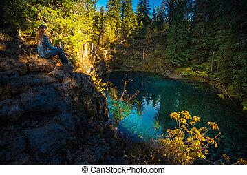 Hiker Girl Overlooking Tamolitch Blue Pool Oregon
