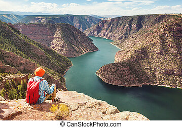 Flaming Gorge - Hiker in Flaming Gorge recreation area
