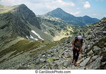 Hiker in Retezat National Park