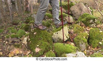 Hiker in rocky area