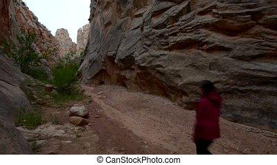 Hiker in South Cottonwood narrows near Road 400 Utah -...