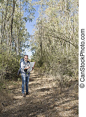Hiker in the woods - Hiker in the Sardinia forest front the...