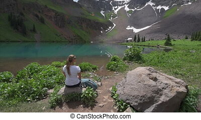 Hiker looks at Blue Lake Ridgway Colorado