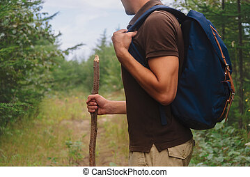 Hiker man walking with a wooden stick in forest