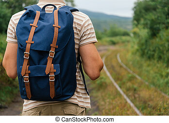 Hiker man with backpack