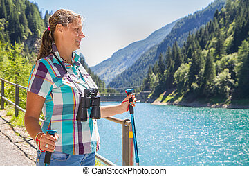 hiker, montanhas, mulher, jovem