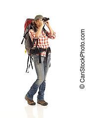 hiker, olhar através binóculos