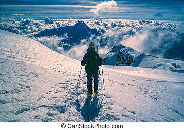 Hiker on Huayna Potosi