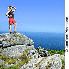Hiker on the Atlantic coast