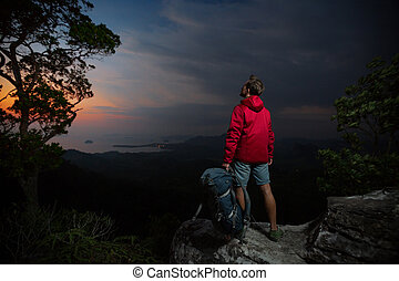 Hiker on the cliff