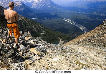 Hiker Overlooking Banff Landscape