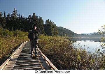 overlooking lake
