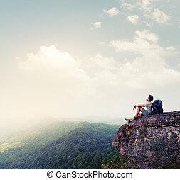 hiker, relaxante, ligado, a, rocha