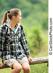 hiker, retrato, mulher, jovem