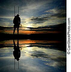 hiker, silueta, reflexão