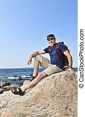 Hiker sitting on a rock