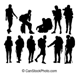 Hiker Sport Activity Silhouettes