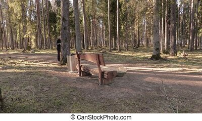 Hiker take break in park
