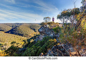 Hiker taking in some of the magnificent Blue Mountains views...