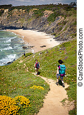 hiker trail - female hikers on hiking trail coast portugal...
