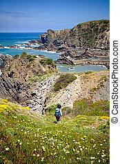 hiker trail - hiking trail coast portugal , rota vicentina. ...