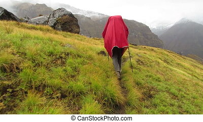 Hiker trekking to Annapurna Base Camp, Himalayas, Nepal
