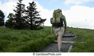 A female hiker wearing a pack hikes up a rocky trail and turns left to pass behind two evergreen trees.