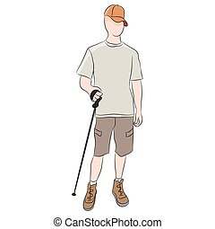 An image of a walker using a trekking pole.