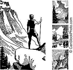 hiker, vetorial, retro, gráficos