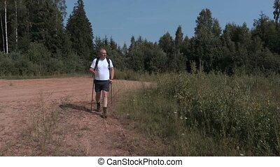 Hiker watching nature