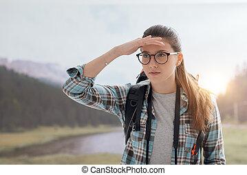 Hiker watching the panorama