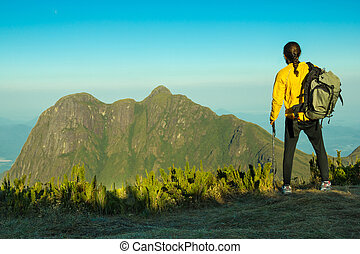 Hiker with Backpack and Trekking Pole