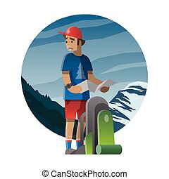 Hiker with backpack lost in the wild. Trekking, hiking, climbing, traveling. Vector illustration.