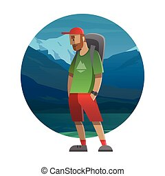 Hiker with backpack outdoor in the wild. Trekking, hiking, climbing, traveling. Vector illustration.