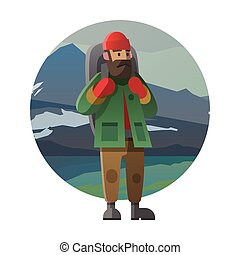 Hiker with backpack outdoor in the wild. Trekking, hiking, climbing, traveling. Winter. Vector illustration.
