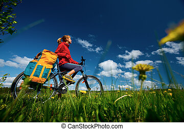 Hiker with bicycle