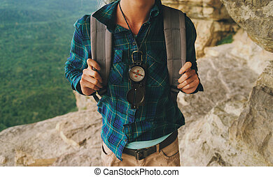 Hiker with compass