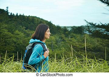 Hiker woman outdoors