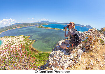 Hiker woman photographer