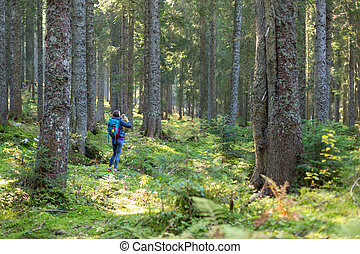 Hiker woman with backpack in the forest.