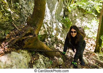 hikers, beklimming, op, berg, muur