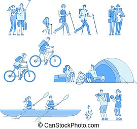 Hikers characters. Friends campfire travel tourist group hiking riding bike boat rafting trekking family explore nature line vector