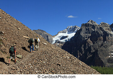Hikers in the Canadian Rockies