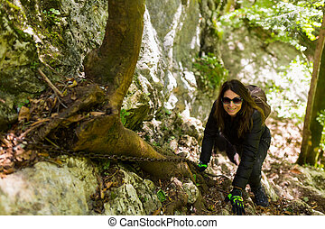 hikers, klatre, på, bjerg, mur