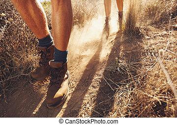 hikers, land, wandelende, spoor