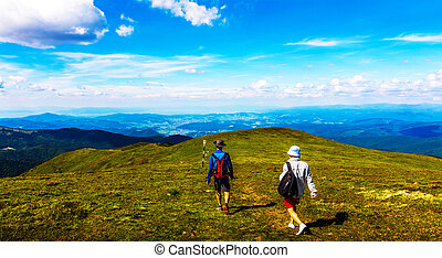 Hikers on Ciucas Mountain Plateau - Hikers on Ciucas...