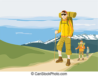 Hikers on mountain path - Group of three hikers in the...
