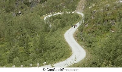 Hikers on the road in mountains. Norway